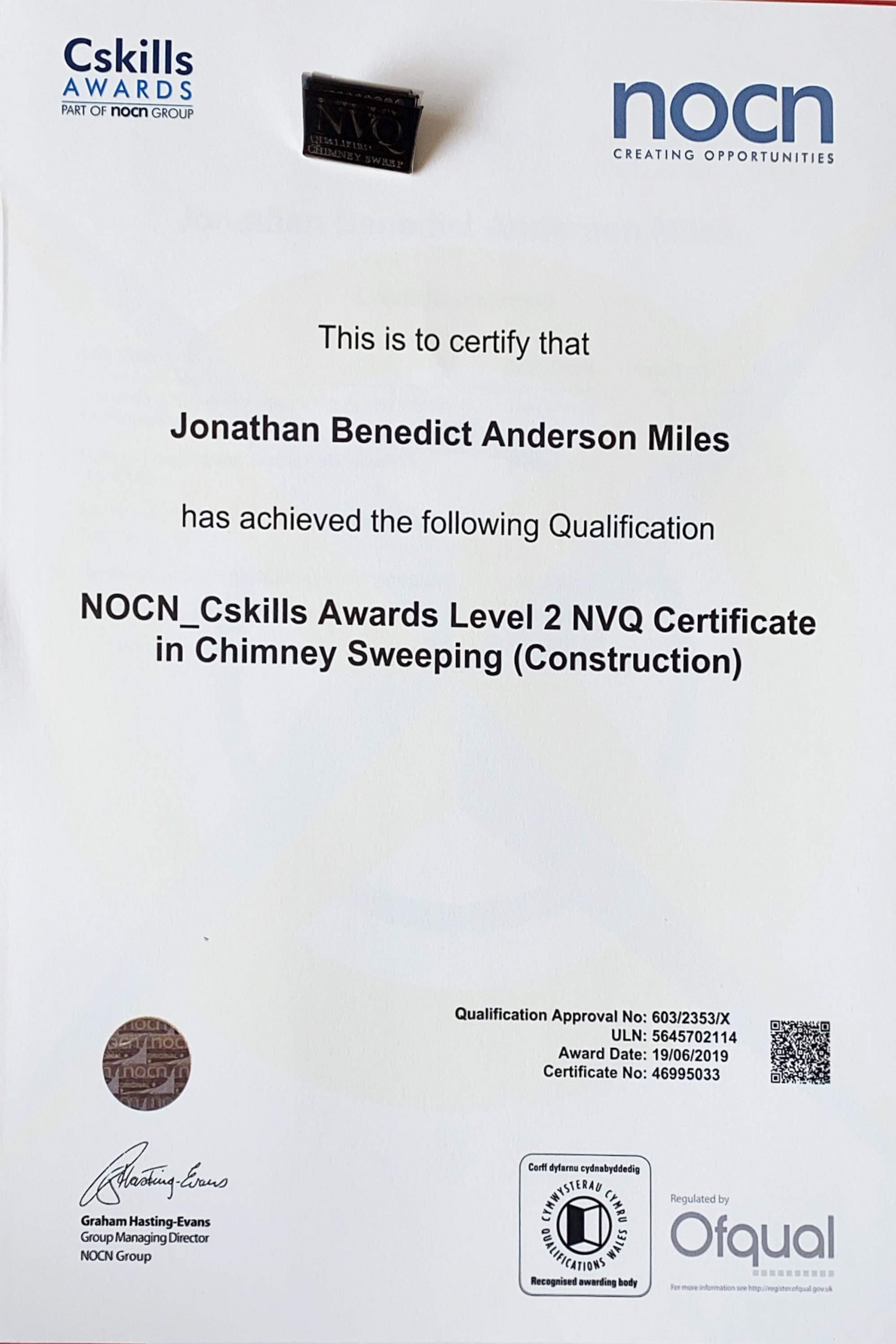 Exeter Chimney Sweep NVQ Level 2 Qualified