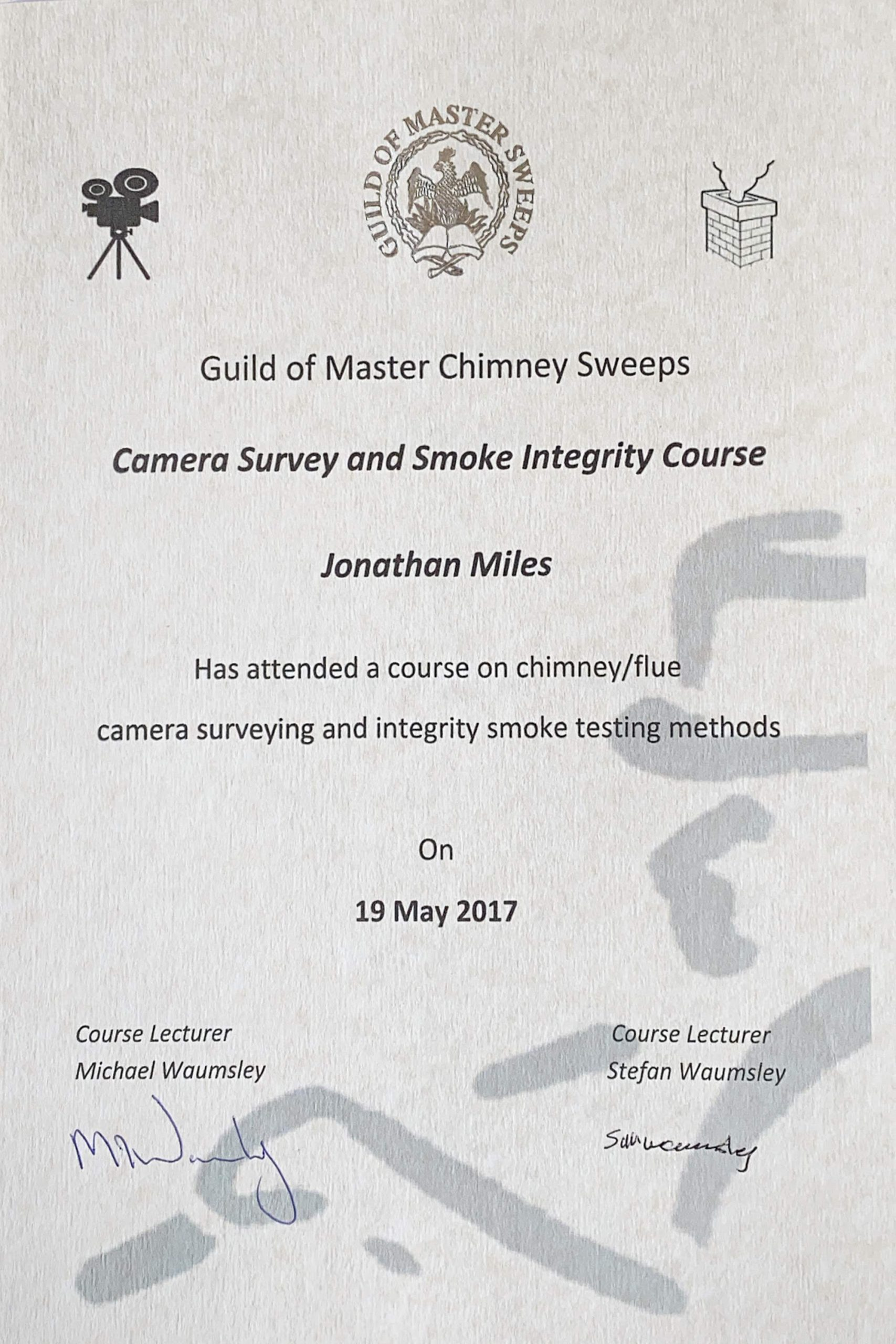 Exeter Chimney Sweep Camera Survey and Smoke Integrity Course