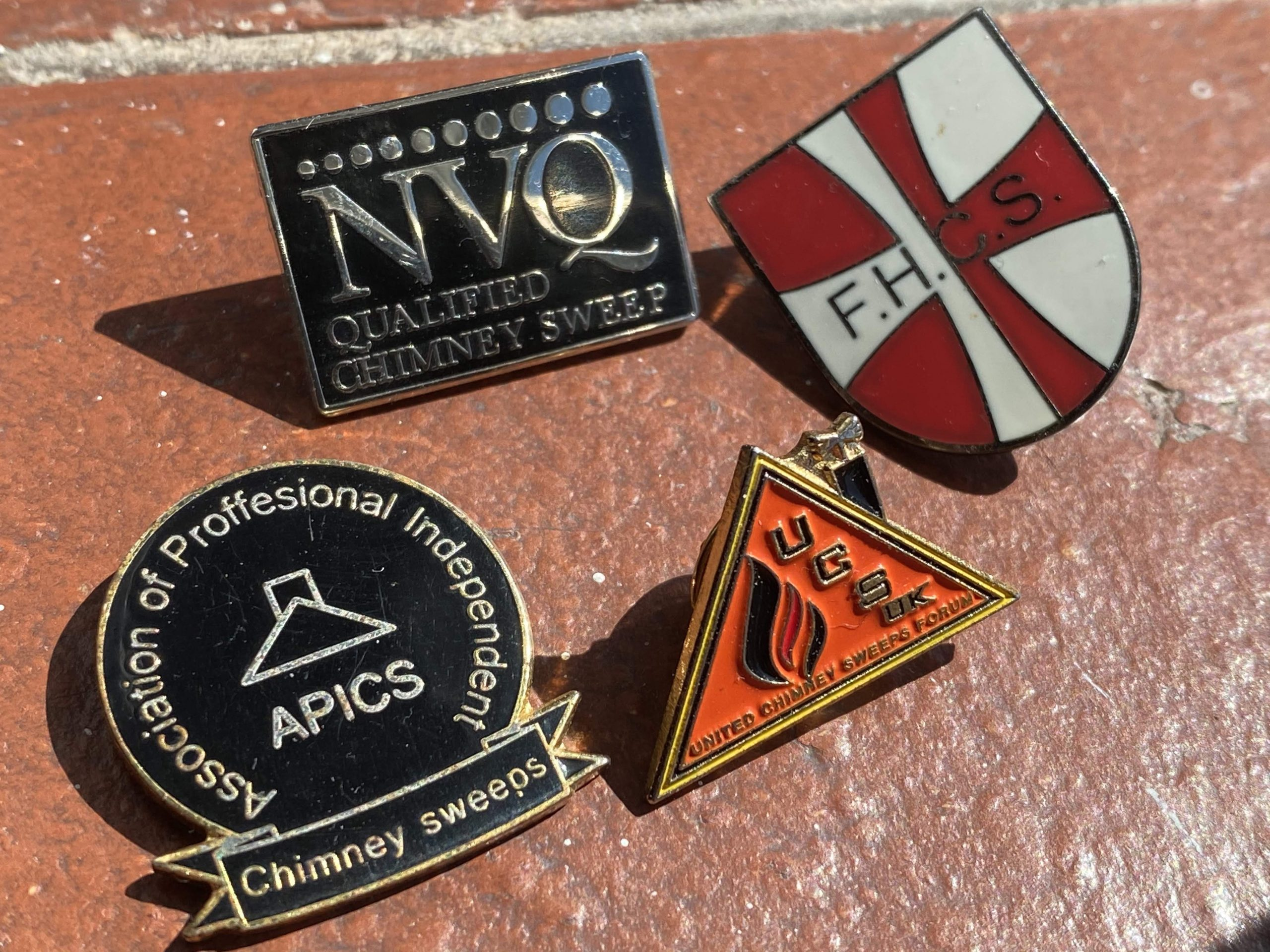Exeter Chimney Sweep enamel badges